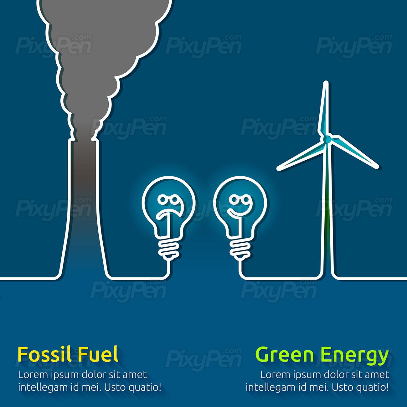 Fossil fuels vs renewable energy - Vector Illustration